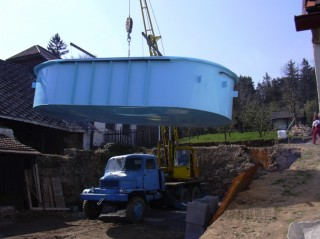 dovoz venkovního bazénu